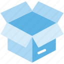 box, cardboard, container, open, paging, product icon