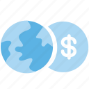 business, currency, dollar, exchange, exchange money, globe, money icon