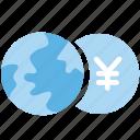 business, currency, exchange, exchange money, globe, money, yen icon