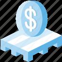 logistics, money, pallet, sale pallet, ship icon