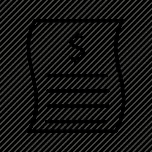 bill, document, file, invoice, receipt, report icon