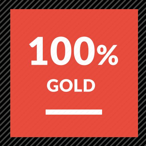 gold, guarantee, label, percent icon