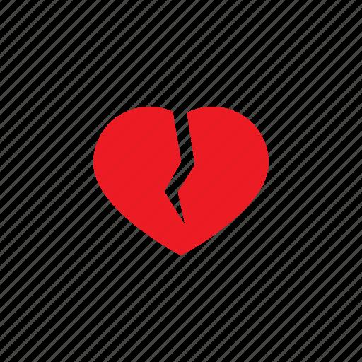 broken, cracked, heart, love, romantic, valentine icon