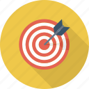 aim, arrow, bullseye, center shoot, goal, target icon icon