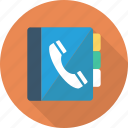 book, contacts, library, phone icon