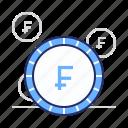 cash, coin, franc icon