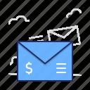 email, letter, money