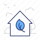 eco, house, leaf icon