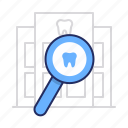 dentistry, magnifier, search icon