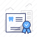 certificate, dentist, diploma icon