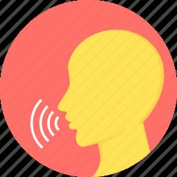 communication, conversation, message, speak, speech, voice icon