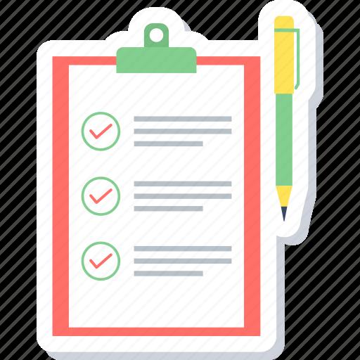 check, checklist, list, mark, sheet, tasks, tick icon