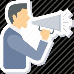 advertising, announcement, bullhorn, loudspeaker, marketing, promotion, speaker icon