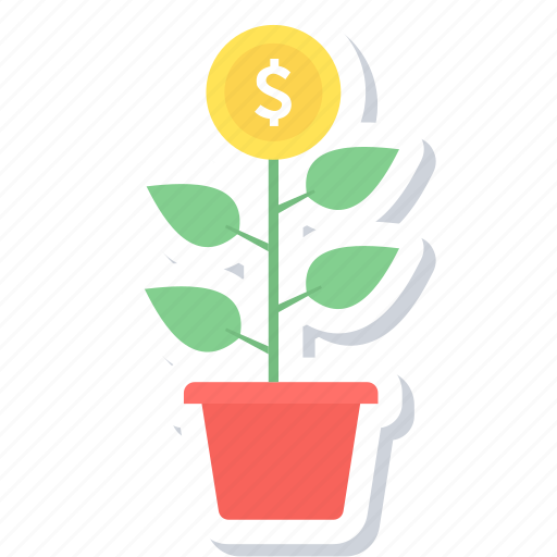 agriculture, bank, business start, eco project, making, money, plant icon