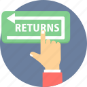 return, returns, shopping returns icon