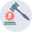 bid, auction, bidding, hammer, approved, decision icon
