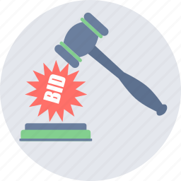approved, auction, bid, bidding, decision, hammer icon