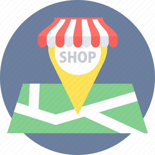 gps, location, map, shop, shopping icon