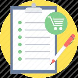 item, list, shopping list icon
