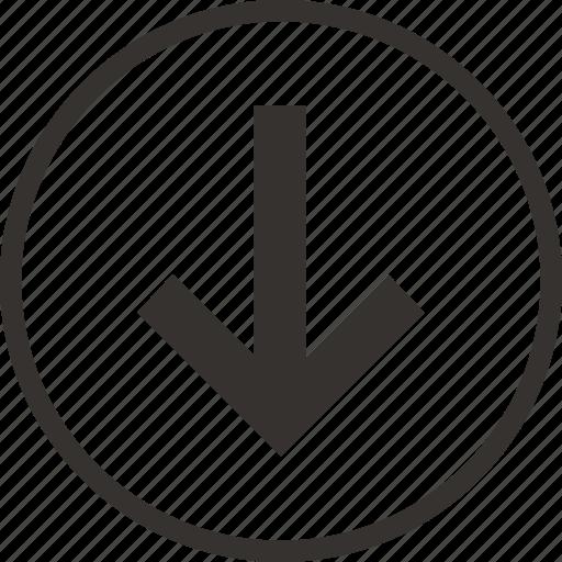 arrow, control, down, download, save icon icon