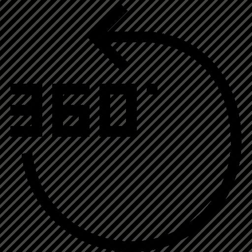 360 градусов, arrow, degrees, move, pointer, rotate, rotation icon