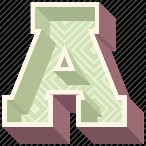 3d alphabet, 3d letter, a, alphabet letter a, capital letter a icon