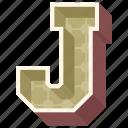3d alphabet, 3d letter, alphabet letter j, capital letter j, j icon