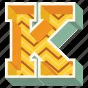 3d alphabet, 3d letter, alphabet letter k, capital letter k, k icon