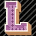 3d alphabet, 3d letter, alphabet letter l, capital letter l, l icon
