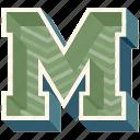 3d alphabet, 3d letter, alphabet letter m, capital letter m, m icon
