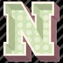 3d alphabet, 3d letter, alphabet letter n, capital letter n, n icon
