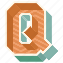 3d alphabet, 3d letter, alphabet letter q, capital letter q, q icon