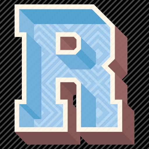 3d alphabet, 3d letter, alphabet letter r, capital letter r, r icon