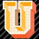 3d alphabet, 3d letter, alphabet letter u, capital letter u, u icon