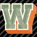 3d alphabet, 3d letter, alphabet letter w, capital letter w, w icon