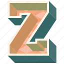 3d alphabet, 3d letter, alphabet letter z, capital letter z, z icon