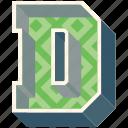 3d alphabet, 3d letter, alphabet letter d, capital letter d, d icon