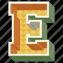 3d alphabet, 3d letter, alphabet letter e, capital letter e, e icon