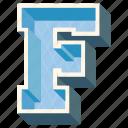 3d letter, alphabet letter f 3d alphabet, capital letter f, f icon