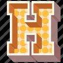 3d alphabet, 3d letter, alphabet letter h, capital letter h, h icon