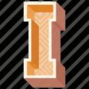 3d alphabet, 3d letter, alphabet letter i, capital letter i, i icon