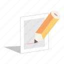 note, paper, pencil, writing icon