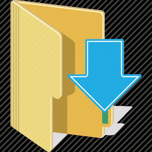 arrow, directory, download, folder icon