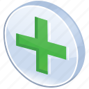 add, ambulance, care, create, cross, equipment, expand, green, health, help, hospital, make, meanicons, medical, medicine, new, ok, pharmacy, plus icon