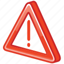 accident, alarm, alert, attention, beware, caution, cautious, damage, danger, error, exclamation, exclamation mark, exit, hazard, help, important, mark, message, problem, prompt, protection, risk, safe, safety, signal, stop, warning icon