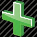 add, ambulance, care, create, cross, equipment, expand, green, green cross, health, help, hospital, make, meanicons, medical, medicine, new, ok, pharmacy, plus icon