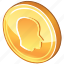 cash, coin, currency, gold, golden, money icon
