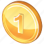 cash, coin, currency, gold, golden, money, one, one coin, payment icon