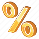 gold, golden, income, part, percent, profit, yellow icon