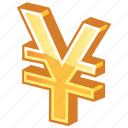 cash, currency, gold, golden yen, japan, japanese, money, yen icon